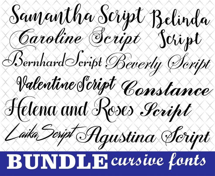 Download Fonts bundle Cursive fonts Wedding fonts Cursive fonts for ...