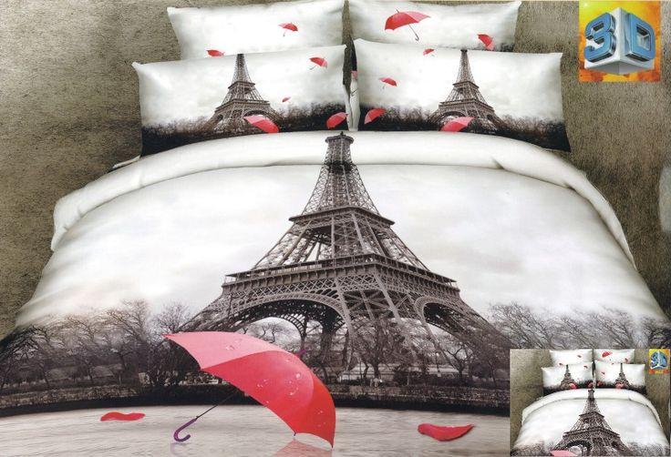 Wieża Eiflla pościel w szarym kolorze z czerwoną parasolką