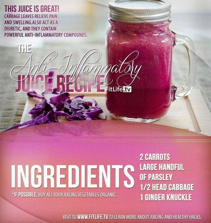 The Anti-Inflammatory Juice Recipe.  Inflammation is the body's attempt at self-protection. #carrots #parsley #cabbage #knuckle