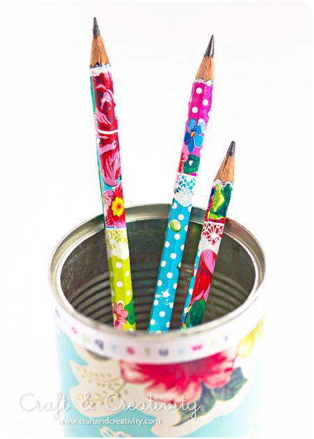 recover pencils with wrapping paper and decopage glue. would be great gift for kids