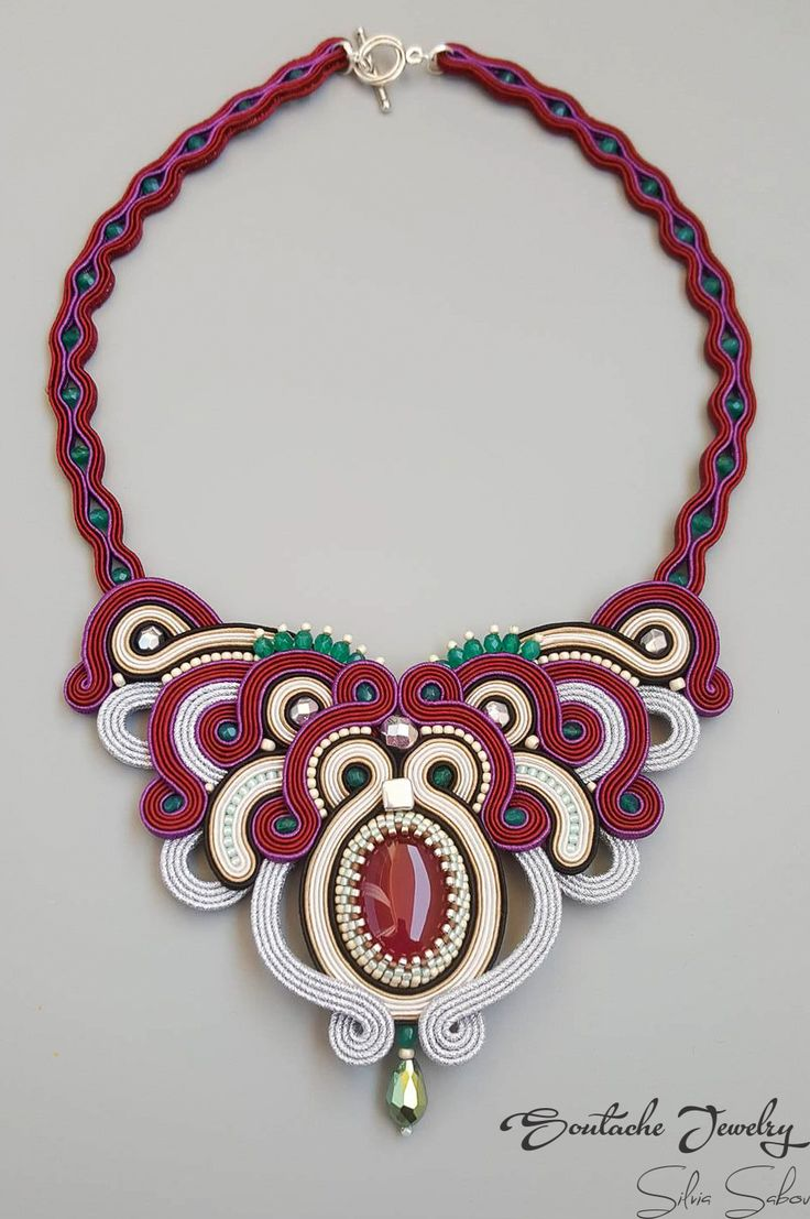 Victoria Unique soutache necklace with brazilian agate
