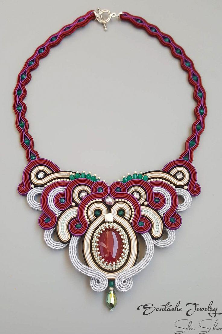 Victoria Unique soutache necklace with brazilian agate