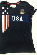 Roots Womens Grey Black American Flag USA Organic Cotton T-Shirt Large L EUC