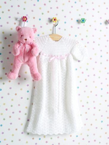 Christening Gown   Yarn   Free Knitting Patterns   Crochet Patterns   Yarnspirations