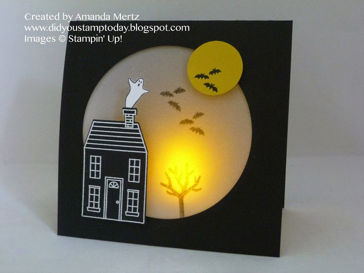 light up spooky house uses holiday home homemade - Stampin Up Halloween Ideas