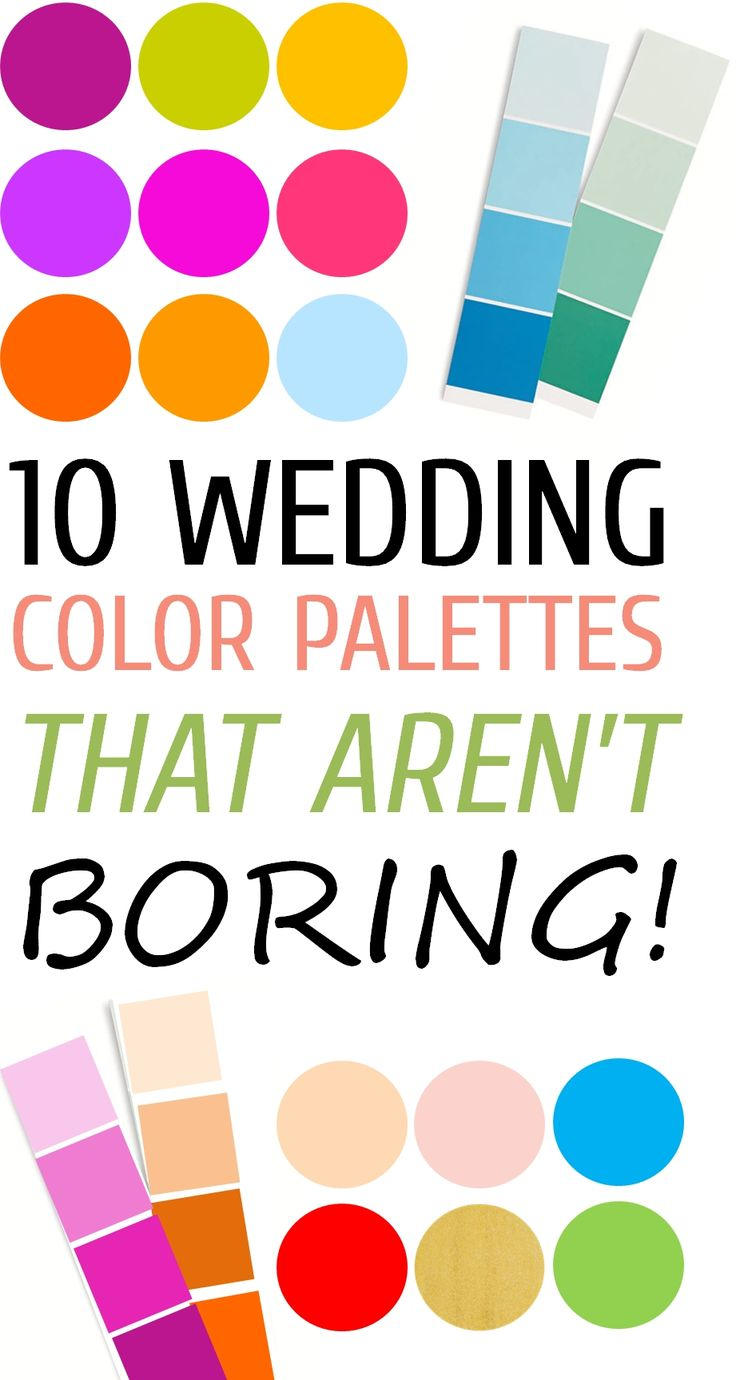10 Wedding Color Palettes That Aren't Boring! An absolute MUST-READ! http://www.theperfectpalette.com/2013/09/10-wedding-color-palettes-that-arent.html
