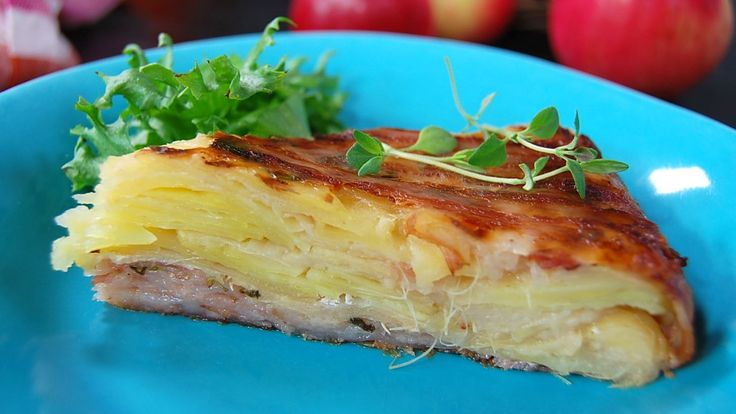 Pommes Anna – potetform med epler og bacon