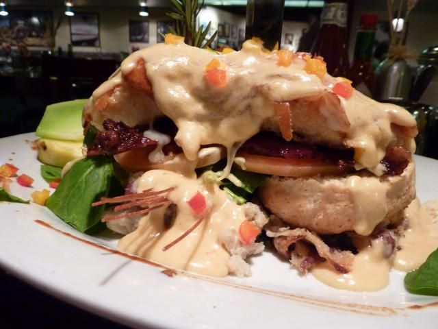 Take Comfort Food to a New Level at Hash House A Go Go, Las Vegas: Andy's Sage Fried Chicken Hash House Farm Benedict at Hash House A Go Go