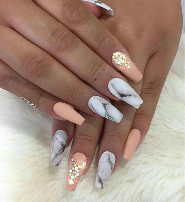 Matte Acrylic Nails In A Marble And Peach Color With Rhinestones Beautifulacrylicnails Shiny Nails Designs Nails Inspiration Graduation Nails
