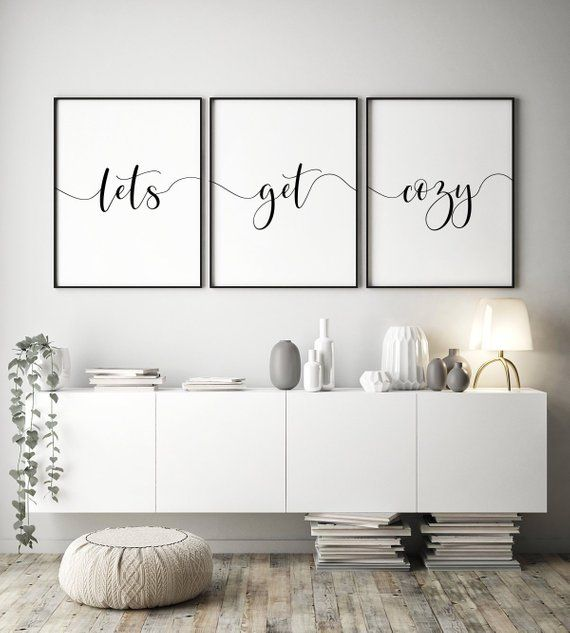 Let S Get Cozy Set Of 3 Printable Art Home Wall Art Posters Let S Stay Home Decor Wall Art Living Room Wall Decor Instant Download Large Wall Decor Living Room Living Room