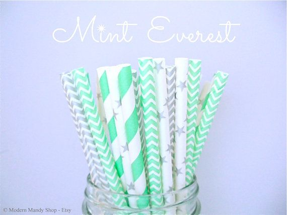 NEW!! Mint and Silver Mixed Paper Straws (Mint Everest - Pack of 25 Straws) **Weddings, Parties, Showers, Gifts** *Paper Straws* Mint Party on Etsy, $4.00