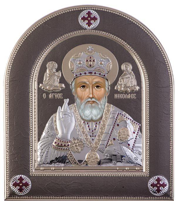 Saint Nicholas Byzantine Greek Orthodox religion, Grey - Made in Greece 18.6x22 cm