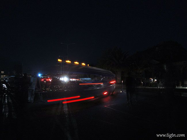 It pays to have a tripod and a compact camera handy at all times.... #Nafplio's city tour train leaving base while the town was plunged into total darkness on August 16th 2014. #Peloponnese - #Greece