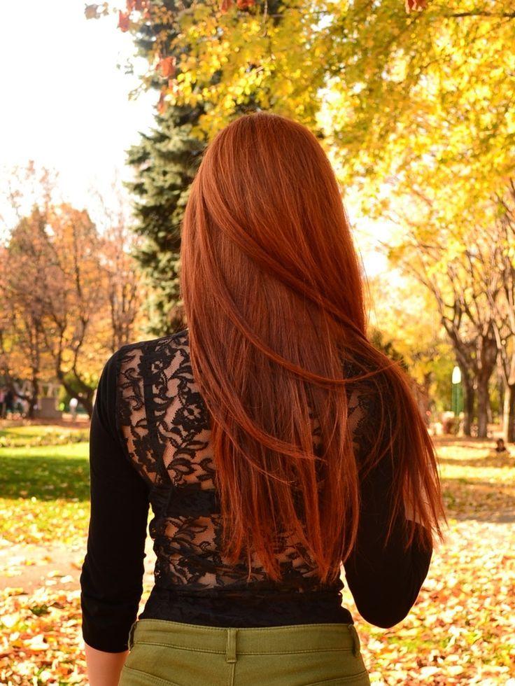 Kupfer rote lange Haare Haarfarbe Inspiration
