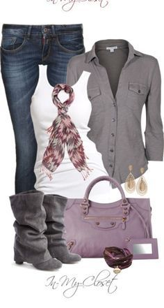 This look is very casual and yet very chic. The jeans give the outfit a laid back feel. where the shirt and scarf look somewhat fancy. This outfit is a great go to!!!!