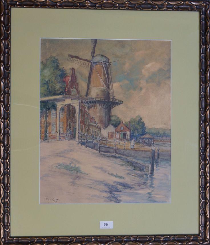 """Adrien Alphonse """"Fons"""" van der Velde (1870-1936), l.o. gesigneerd en gedateerd 1918, aquarel, gezicht op een molen te Leiden, 48 x 38 cm (inmiddels afgebroken, maar stond in de omgeving Langegracht/Herensingel)."""