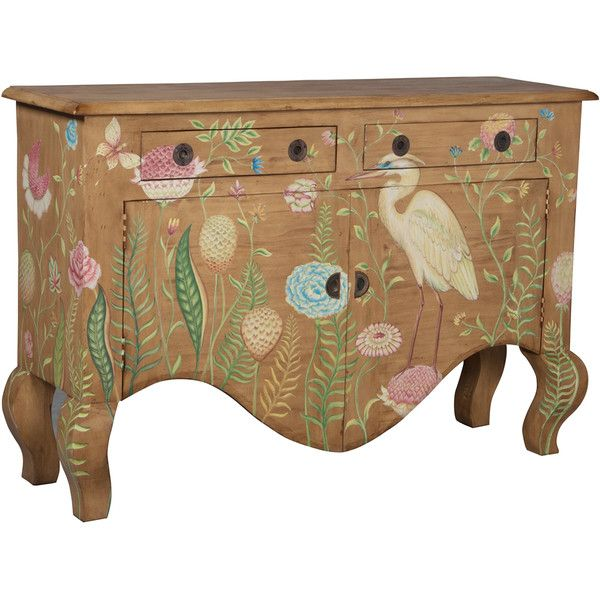 Painted Tropical Birds Sideboard ($1,895) ❤ liked on Polyvore featuring home, furniture, storage & shelves, sideboards, painted buffet, colorful painted furniture, display furniture, colorful furniture and tropical furniture