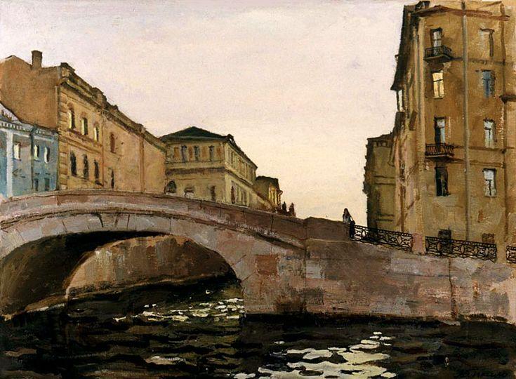 V. Lyapkalo. A Moyka river. 1987. Oil on board, 57 x 77 cm