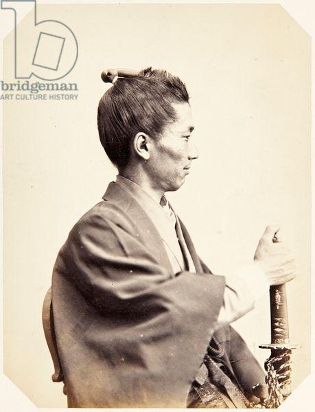 Портрет японского человека (названный Uchida Tsunesaburō), самурай и командира японского флота, дислоцированной в Нидерландах, 1864 (белково печать)