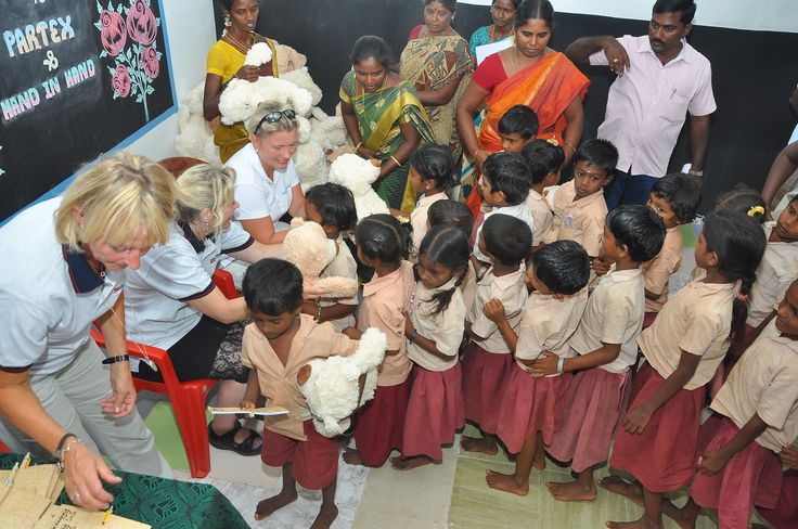 Students receiving educational gifts