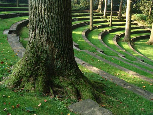 "lorettabosence: "" Scott Outdoor Amphitheatre, Swarthmore College, PA. Designed by Thomas Sears and completed in 1942. 2ft high retaining walls are made from layers of local schist slabs and the..."