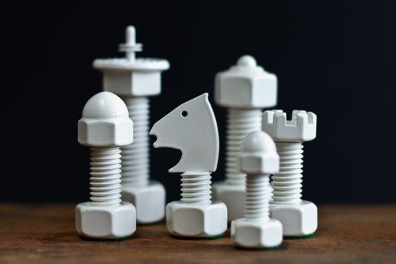A chess set made from nuts and bolts? Pretty much the coolest thing ever.
