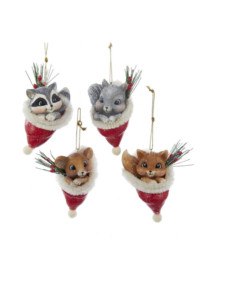 Assorted Animal In Santa Hat Tree Ornament | David Jones