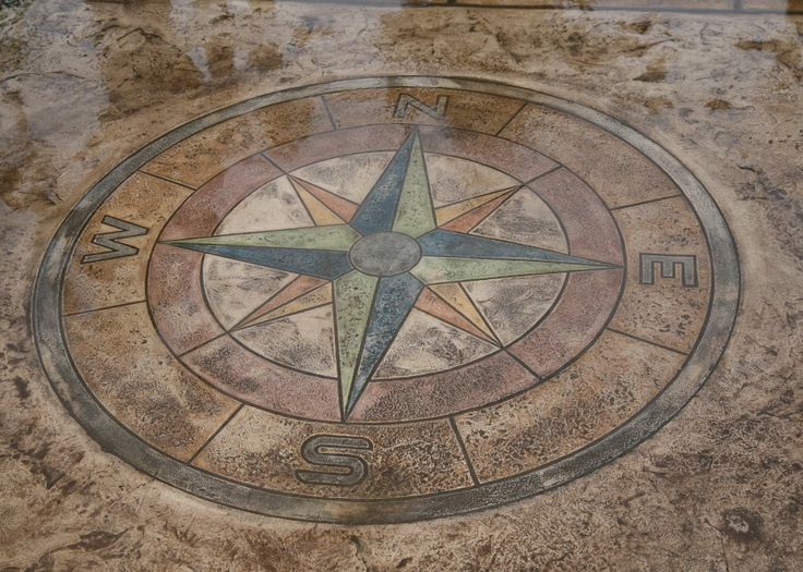 Stamped Concrete Medallions : This is the compass medallion concrete stamp it s