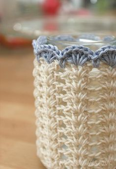 Crochet Jar Covers, I need to make some more of these. The scalloped edge on these is nice. A great way to use crochet thread up is to make rainbow colored crochet jar covers. Some all white ones would also be nice. Crochet - Dressing up Jars