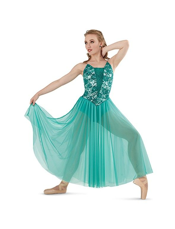 85400bb95 Lyrical or contemporary dance costume is lycra and lace bodice with a two  tone chiffon long skirt.