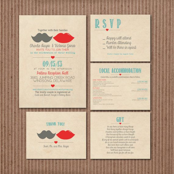 Wedding Invitation Suite Set Printable Custom by SplashOfSilver, $13.00