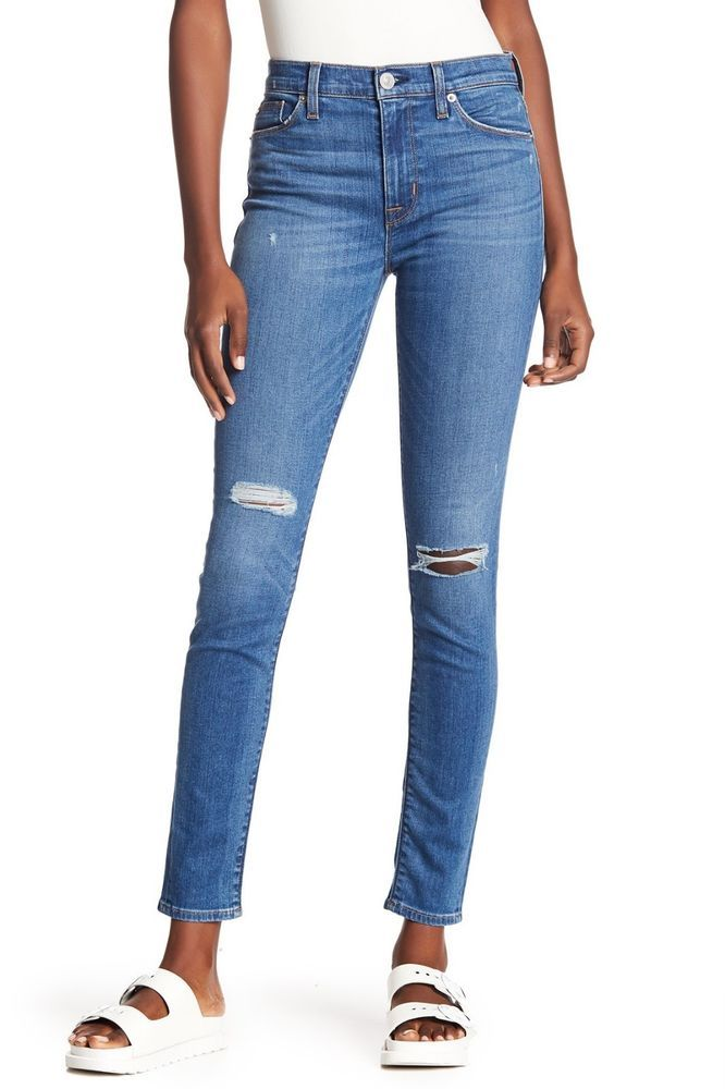 52413f9c17ea HUDSON Barbara High Rise Super Skinny Distressed Jeans Blue 29  205  Hudson