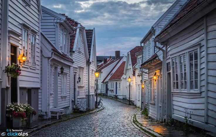 The wonderful old city of Stavanger, with its wooden houses, during a cold, cloudy evening.