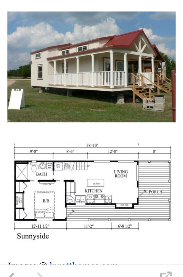 This is the 400 sq. ft. Sunnyside Park Model Tiny House on Wheels by Pratt Homes. Outside you'll find a nice wrap-around built-in porch. When you go inside you'll find a living room, kitchen, bedroom, bathroom, and upstairs loft space.