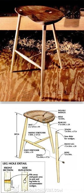 Three Legged Stool Plans - Furniture Plans and Projects | WoodArchivist.com