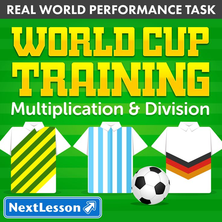 Multiplication & Division In World Cup Training, students use data on the distances players from their favorite team run in matches during the World Cup to practice multiplication and division problems. As coaches to the team, they have to help prepare training schedules and interpret scoring systems for practice games. This performance task has different editions for 8 international soccer teams, including USA, Brazil and England.
