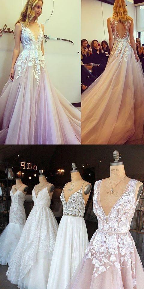 A line Sexy Open Back Blush V-neckline Lace Wedding Dress
