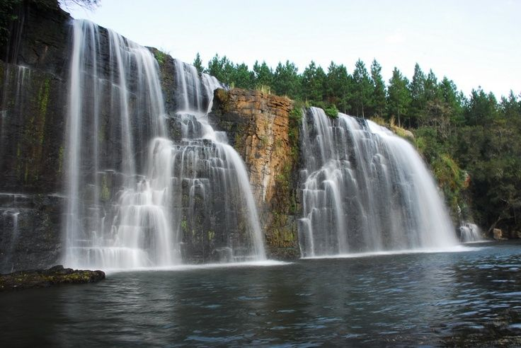 SOUTH AFRICA THE BEAUTIFUL :: Panorama Waterfalls :: The Forest Falls (South of Graskop ) - A refreshing walk that takes you through fragrant pine forests to the falls - the only waterfall in the area that is wider than what it is high.
