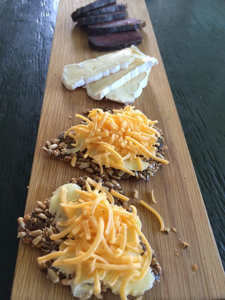 Biltong, brie & seed crisps for lunch.