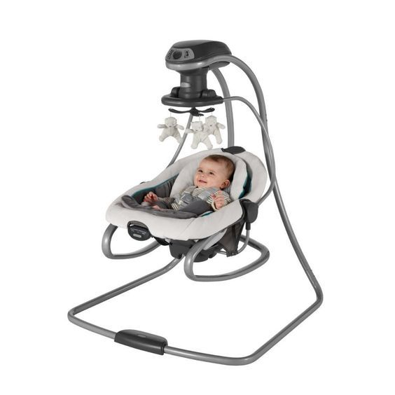 Top 5 Baby Bouncers and Jumpers. This is actually two products in one – a swing and a rocker. It is customizable so that it will swing from front to back or side to side. A built in carry handle lets you easily move it around. It includes gentle vibration to sooth baby.