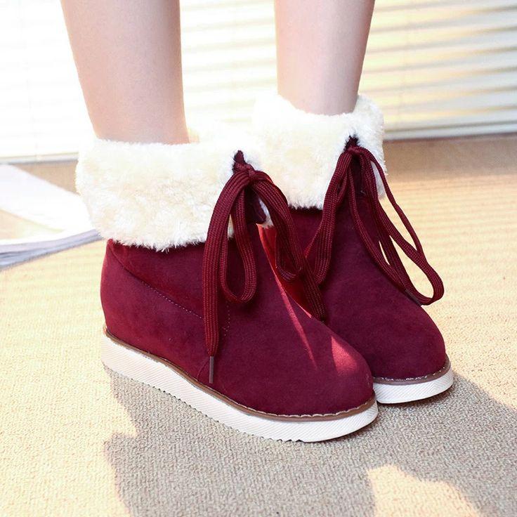 חורף מגפי שלג אישה נעליים באיכות גבוהה נקבת סתיו נשים נעלי אופנה נעלי מכירת כבש ירך פלטפורמת גומי אדום ב- מתוך מגפי שלג באתר AliExpress.com | Alibaba Group