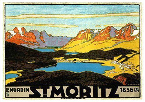 'St. Moritz - Switzerland' (11) - A4 Glossy Art Print Taken From A Rare Vintage Travel Poster by Vintage Travel Posters http://www.amazon.co.uk/dp/B01BHPWSQU/ref=cm_sw_r_pi_dp_5LgTwb15YJB7B