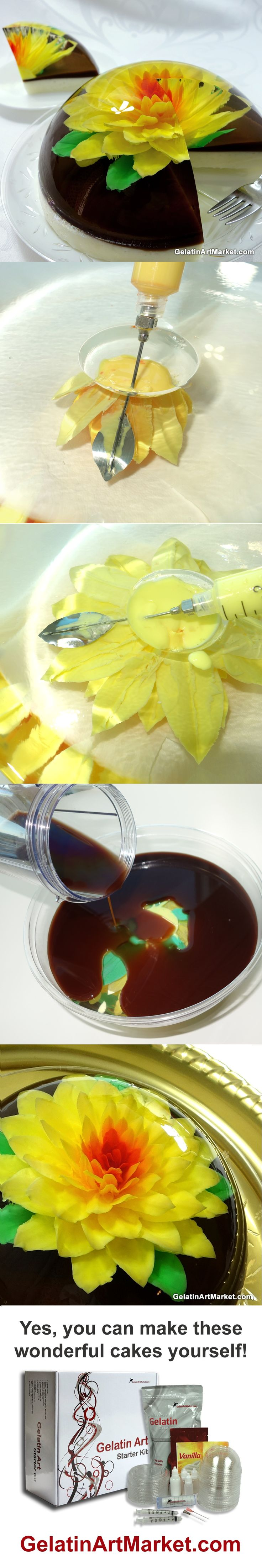 Gelatin Art Cake - A flower drawn in clear jelly. Anyone can do it, learn how!
