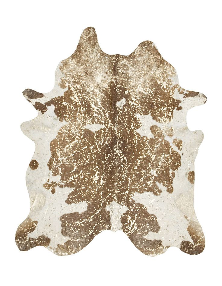Brown & White with Gold Metallic Cowhide Rug