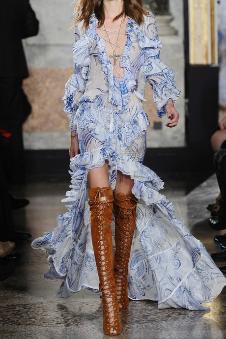 Pucci ~ love!  oioi those shoes..contrasted by the light blue of the dress,and the frills! love it...sort of cowboy meets chique