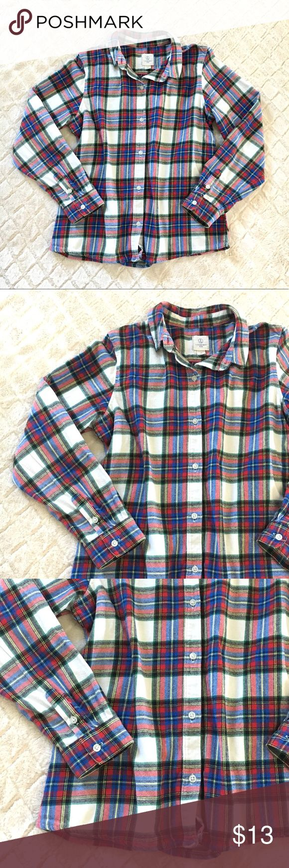 """Kids Lands' End flannel Cozy and warm flannel from Lands' End EUC Perfect for mountain camping this summer No stains or rips Last picture is for outfit inspiration only- not actual flannel  Pit to pit: 18"""" Length: 22"""" Sleeve length: 21.5""""  •Open to offers •Smoke free home Lands' End Shirts & Tops Button Down Shirts"""