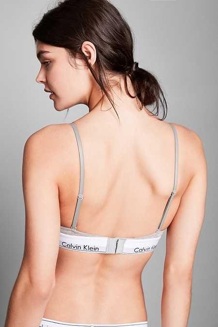 Calvin Klein - Soutien-gorge triangle moderne en coton gris