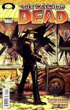 The Walking Dead is an ongoing black-and-white American comic book series created by writer Robert Kirkman and artist Tony Moore.[1][2] It focuses on Rick Grimes, a sheriff who is shot in the line of duty and awakens from a coma in the zombie apocalypse. He finds his wife and son, and meets other survivors, gradually taking on the role of leader among a group and later a community.