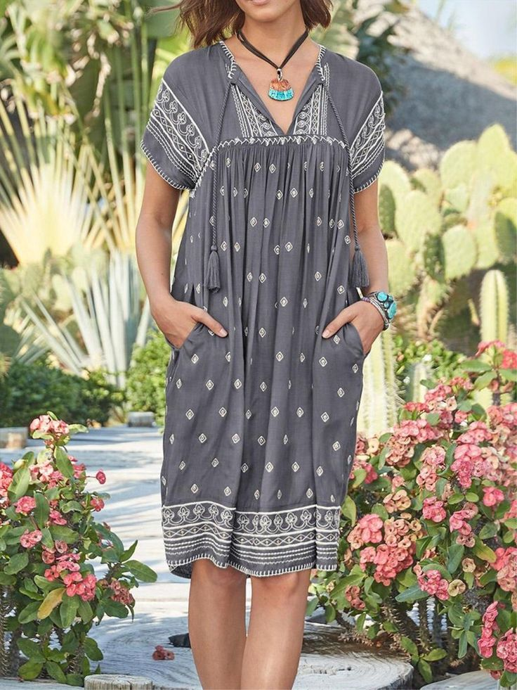 V Neck Cotton Printed Holiday Midi Dress