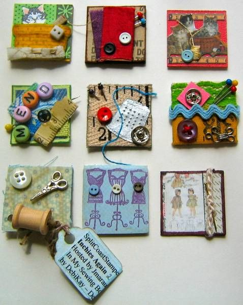 Swap Returns: Sewing Basket Inchies by parknslide - Cards and Paper Crafts at Splitcoaststampers